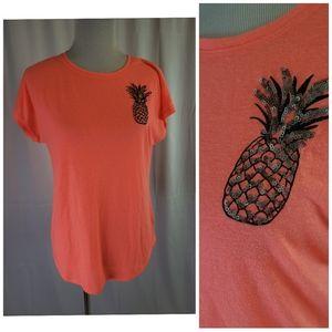 Apt. 9 women's fluorescent pineapple tee shirt
